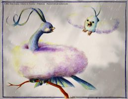 Altaria and Swablu - Pokemon by RavenEvert