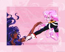 Utena and Anthy Wallpaper by mizziness