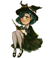 A Witch And Her Cat by AmiWills