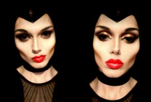 Maleficent cosplay makeup (DRAG) by TrivialJohn