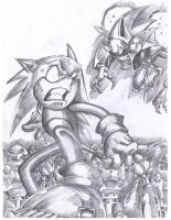 Sonic vs Mecha by bittenhard