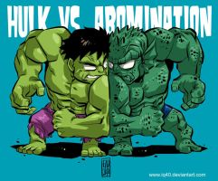 Chibi Hulk VS. Abomination by iq40