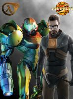 Samus and Gordon Freeman by XLTALIS