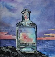 Glass Bottle at Sunset by applecorekevin