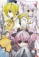 Mami, Charlotte and Kyubey by tearsofdream