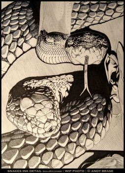 Snakes: WIP Ink Detail by andybrase