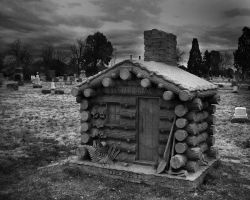 Cabin at Riverside Cemetery by flowersdaughter
