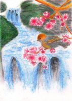 Little robin upon the waterfall by Hydrargirum16
