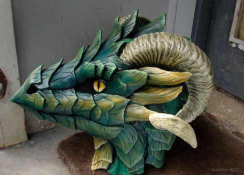 Green leather mask - side view by zarathus