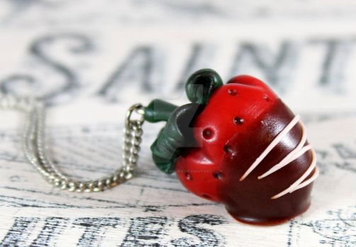 Chocolate Covered Strawberry Necklace by NeverlandJewelry