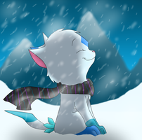 Cute Cat Fakemon Fursona *Iceyay*  In A Snow Storm by krazykatdrawer