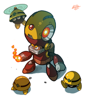 Megaman mid level boss: Mettaur-Master by huzba