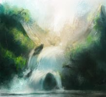 waterfalls speed paint by Raikoh-illust