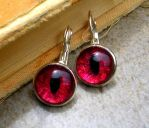 Earrings - Blood Red Magenta Color Shift Eyes by LadyPirotessa