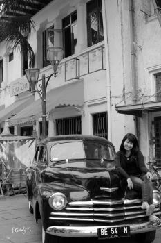old car and lady by cichAddicted