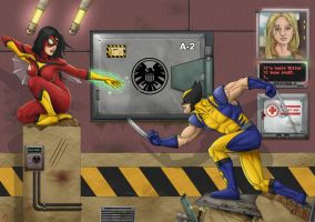 Spider-Woman vs Wolverine by orco05