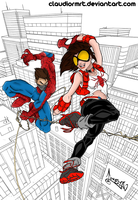 Painting - Arana and Spiderman by claudiormrt