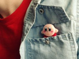 Needle felted kirby by FluffyParcel