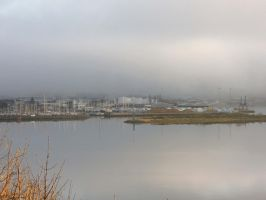 Inverness harbour in the mist by piglet365