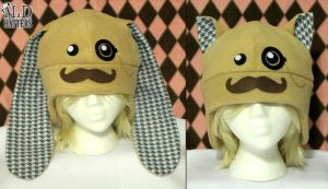 Blue Dapper Moustache Bunny and Kitty Hats by MDHatters
