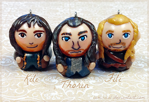Thorin, Kili, Fili Chibi Charms by Comsical
