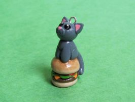 Lolcat with Cheeseburger by DragonsAndBeasties