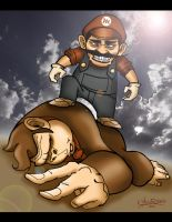 Wicked Mario Slays Donkey Kong by ginoroberto