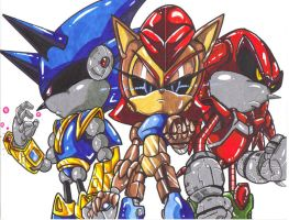 mecha sonic,sally,and knuckles by trunks24