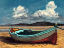 Beached boat by elufie