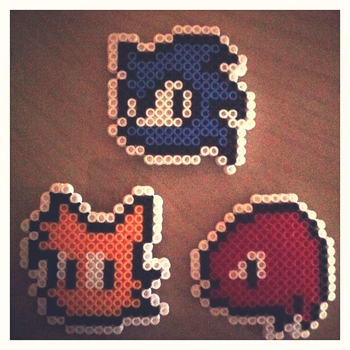 Team Sonic Icons (Perler Beads) by SonicBoyAnt
