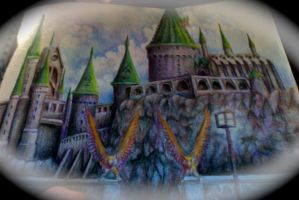 Hogwarts Castle in colored pencil by whativeheardb4