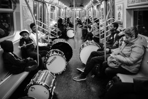 Drums in Train by IrynaFedorovska