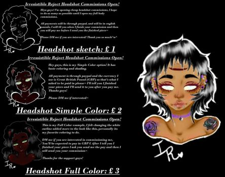 :: Cheap Headshot Commissions! :: by IrresistibleReject