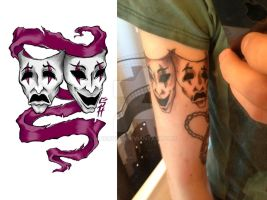 comedy and tragedy Tattoo by AngryPIG