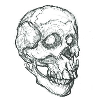 Stylized Skull Portrait, Pencil by heidel