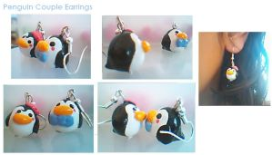 Penguin Couple Earrings by Eliwi