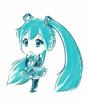 Miku sketch ... Just Sketch. A RAW Sketch. by Ethevian