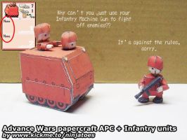 Papercraft Advance Wars Orange Star Infantry + APC by ninjatoespapercraft
