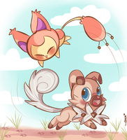 Skitty and Rockruff :3 by chibiirose