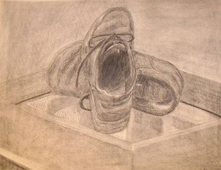 Shoes on a glass table by MikeWeasel