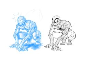 19th of February, 2012: Spidey (sketch vs lines) by TheWizpir