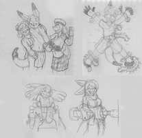 Some sketches I did between not having the net. by Caroos-Dungeon