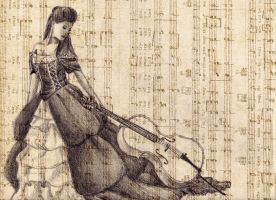 The Cellist (graphite on sheet music) by LilacLunatic