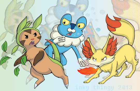 Chespin, Froakie, and Fennekin by inky-thingy