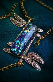 Dragonfly Opal Necklace_Indigo + Gold by Eli-ArsNexus
