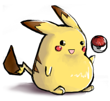 Fat pikachu and a pokeball by Sirri