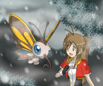 [Pokemon Ranger] Eyleen and Beautyfly in the snow by mizusawa-yuki