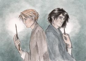 Moony and Padfoot by oboe-wan