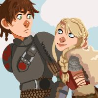Hiccup And Astrid by fUnKyToEs