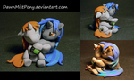 Littlepip and Homage- sculpt by DawnMistPony